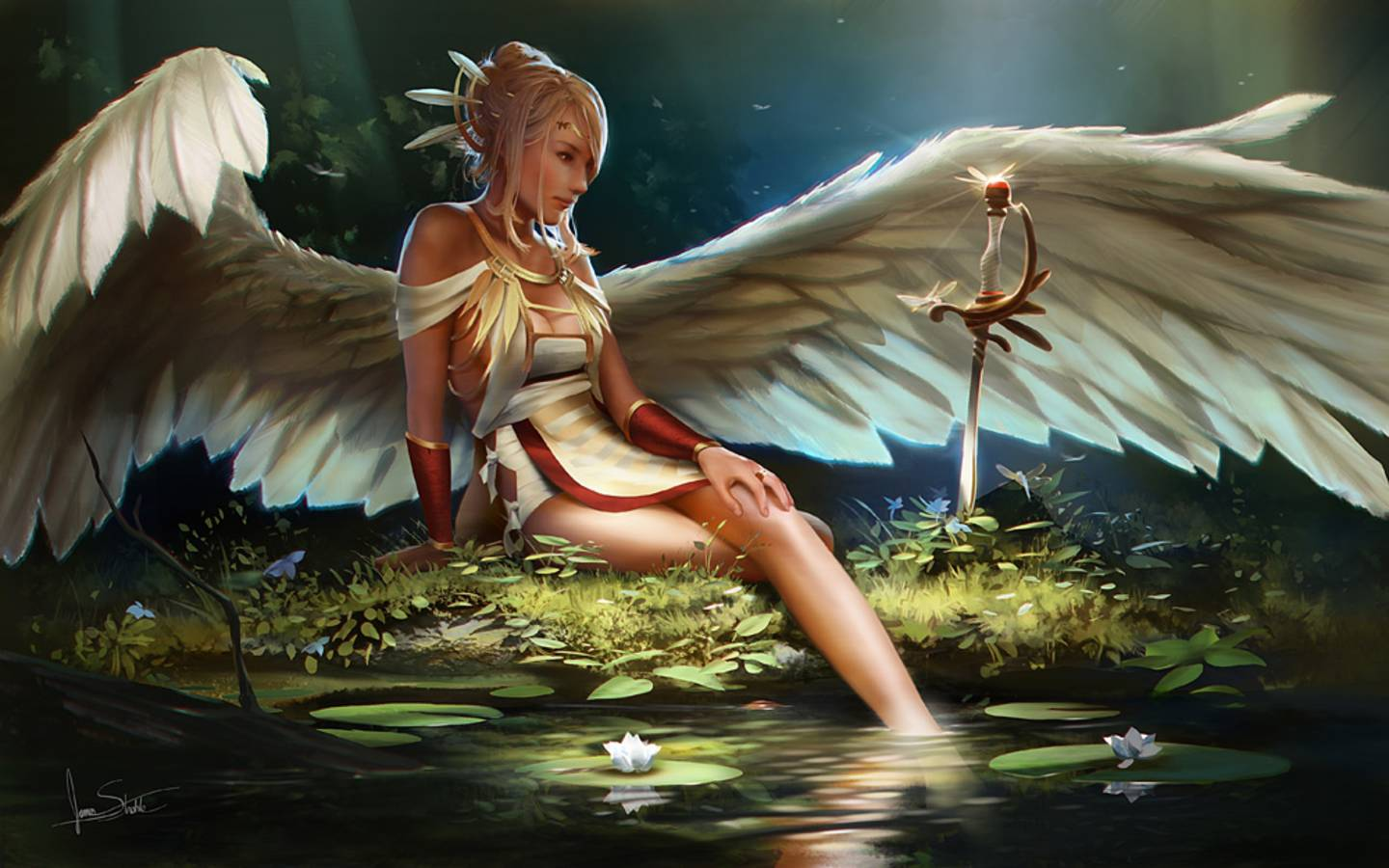 HD Quality Wallpaper | Collection: Fantasy, 1440x900 Angel Warrior