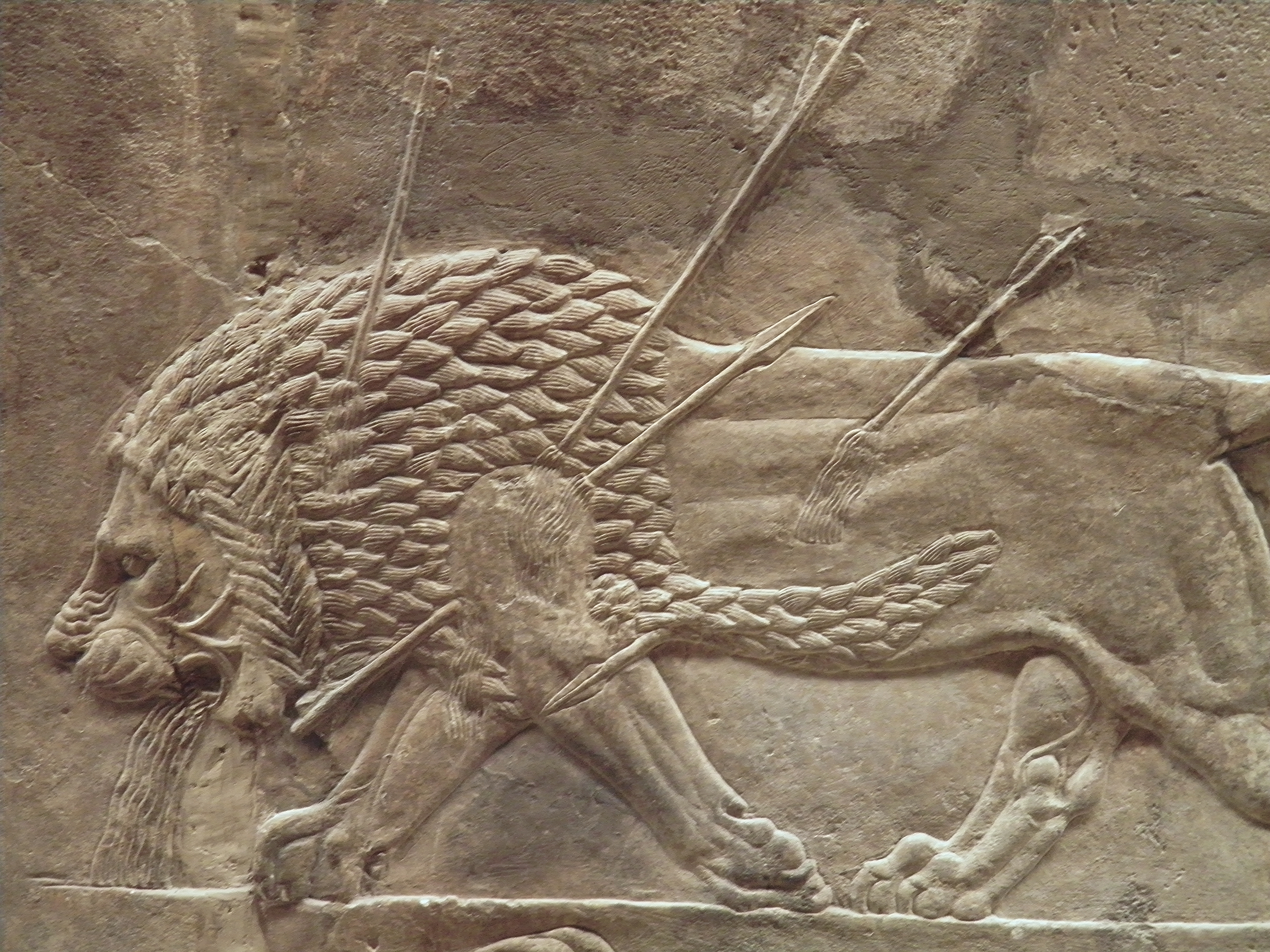 HD Quality Wallpaper | Collection: Artistic, 4288x3216 Assyria: Lion Hunts
