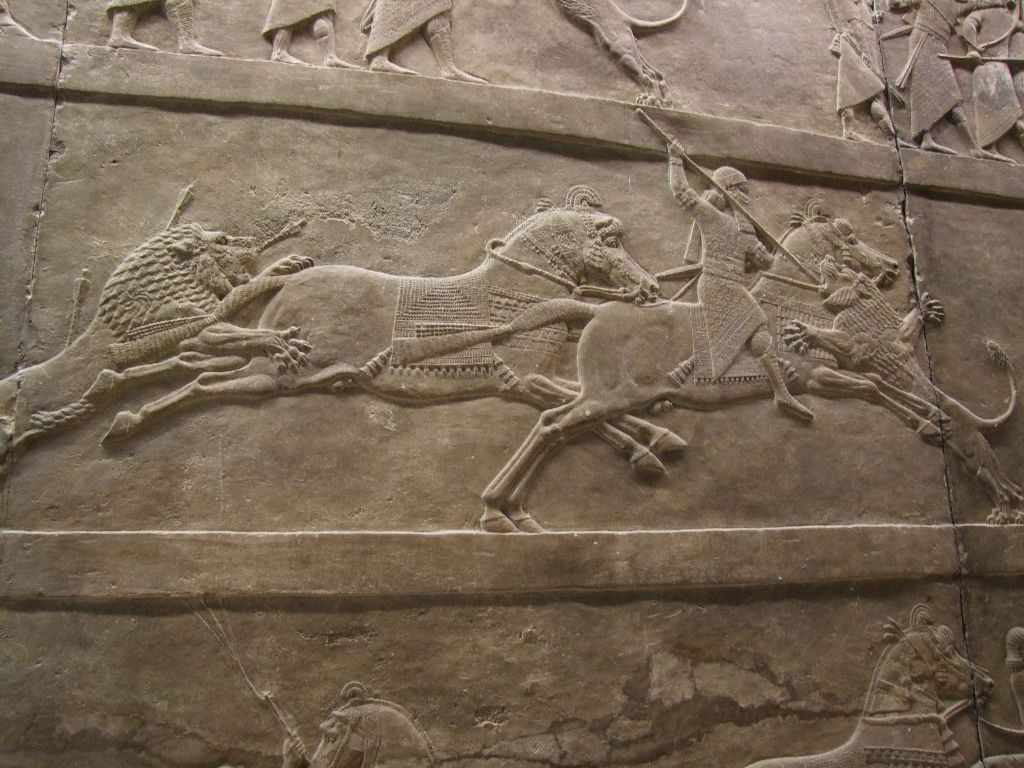 HD Quality Wallpaper | Collection: Artistic, 1024x768 Assyria: Lion Hunts