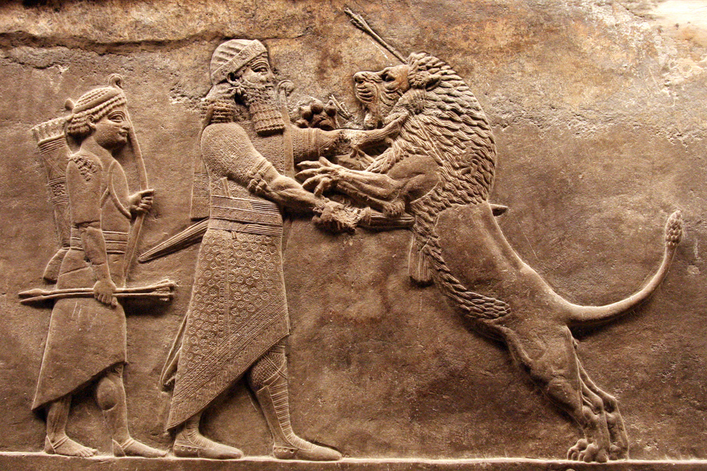 Assyria: Lion Hunts High Quality Background on Wallpapers Vista