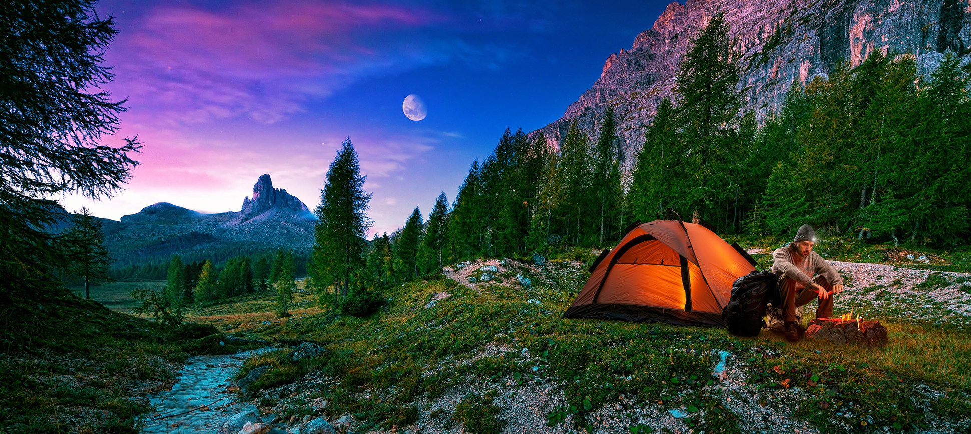 HD Quality Wallpaper | Collection: Photography, 1940x868 Camping