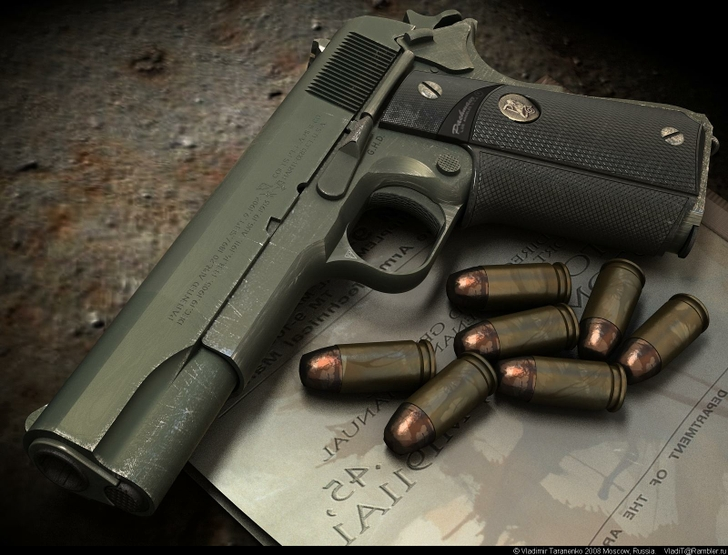 HD Quality Wallpaper | Collection: Weapons, 728x555 Colt Government Pistol