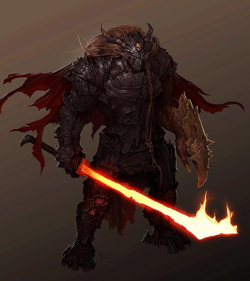 Female Demon Knight Armor Fantasy Art