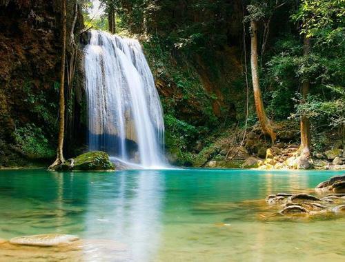 Nice Images Collection: Erawan Waterfall Desktop Wallpapers