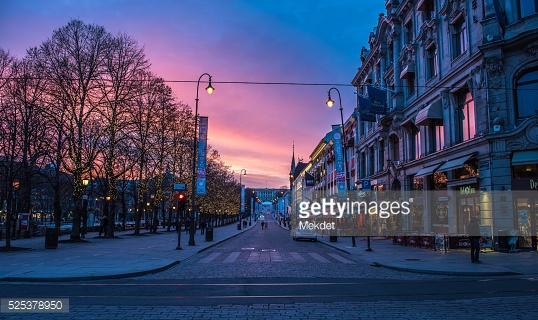 Amazing Evening On Karl Johan Street Pictures & Backgrounds