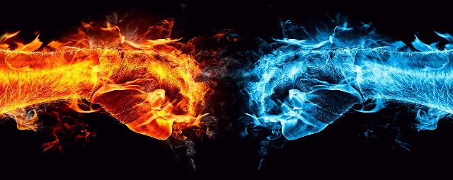 HD Quality Wallpaper | Collection: Abstract, 640x254 Fire And Ice