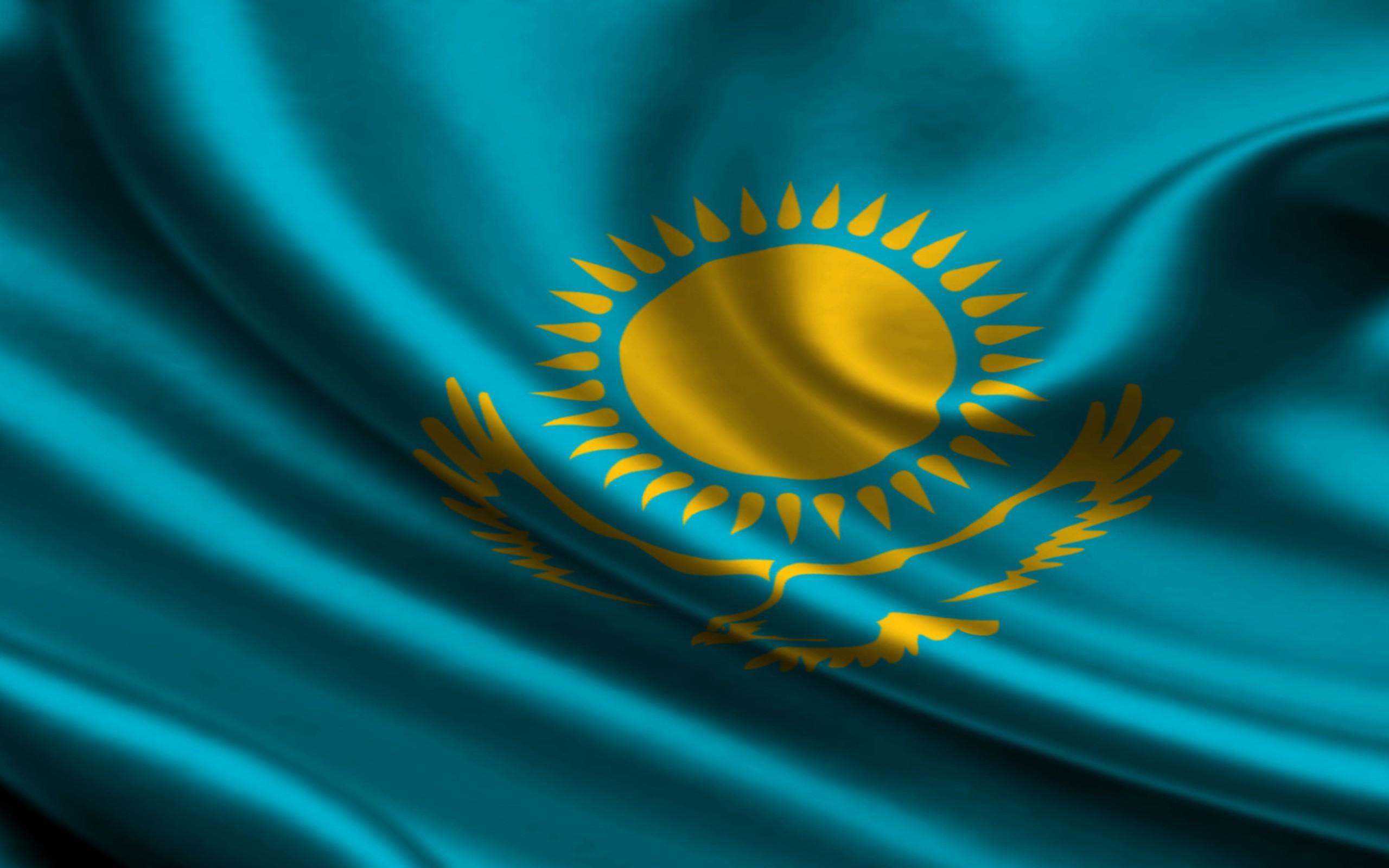 Nice Images Collection: Flag Of Kazakhstan Desktop Wallpapers