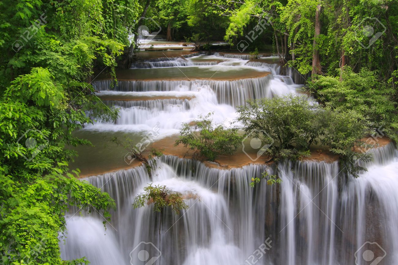 Nice Images Collection: Huai Mae Kamin Waterfall Desktop Wallpapers