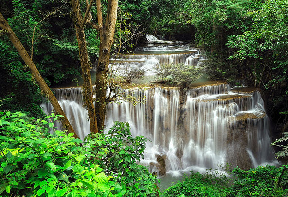 Huai Mae Kamin Waterfall Backgrounds, Compatible - PC, Mobile, Gadgets| 592x404 px