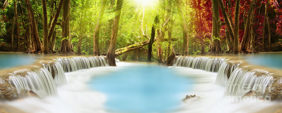 High Resolution Wallpaper | Huai Mae Kamin Waterfall 900x362 px