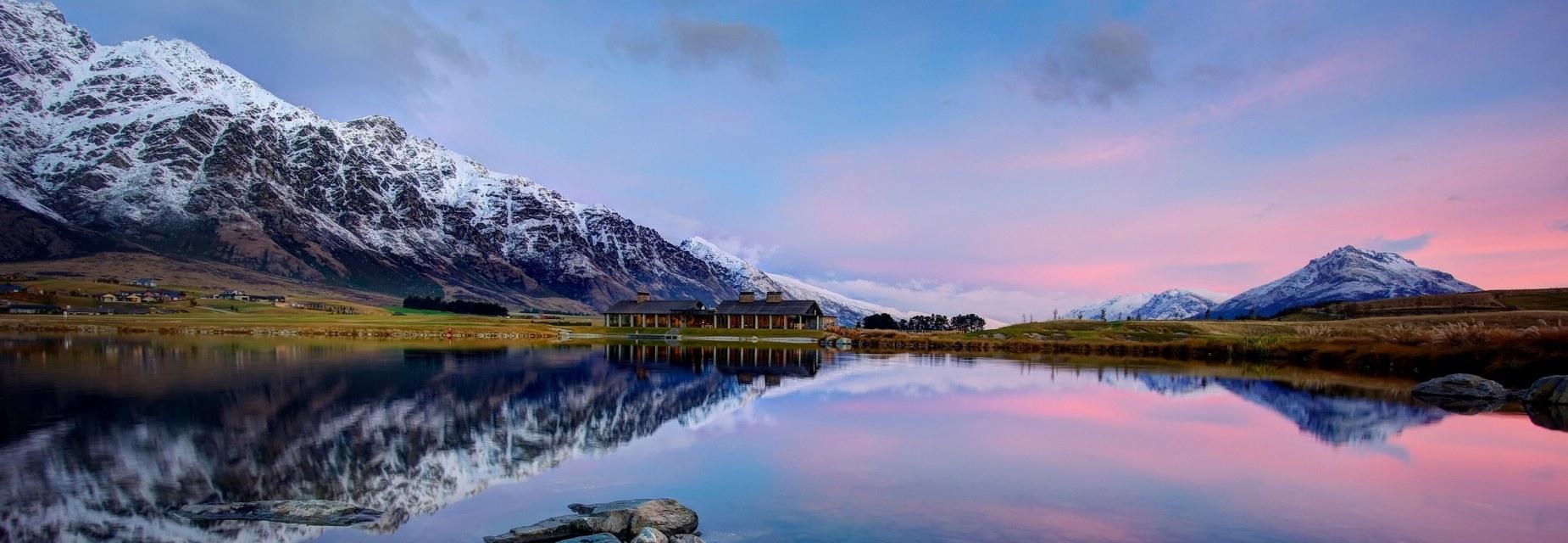 High Resolution Wallpaper | Lake Wakatipu 1850x640 px