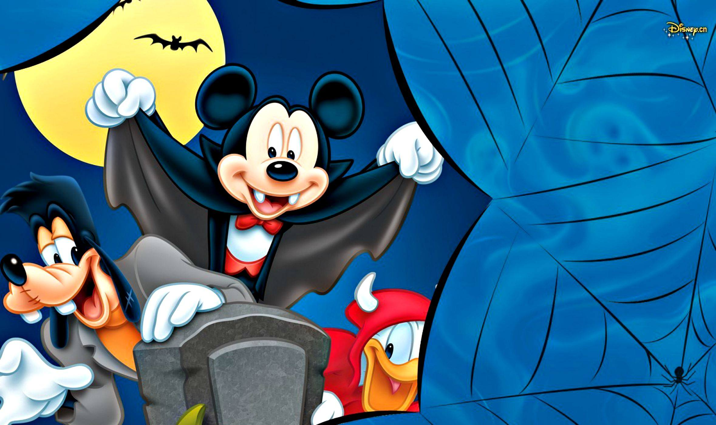 HD Quality Wallpaper | Collection: Cartoon, 2358x1400 Mickey Mouse Halloween