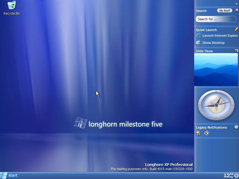 Microsoft Longhorn Pics, Technology Collection