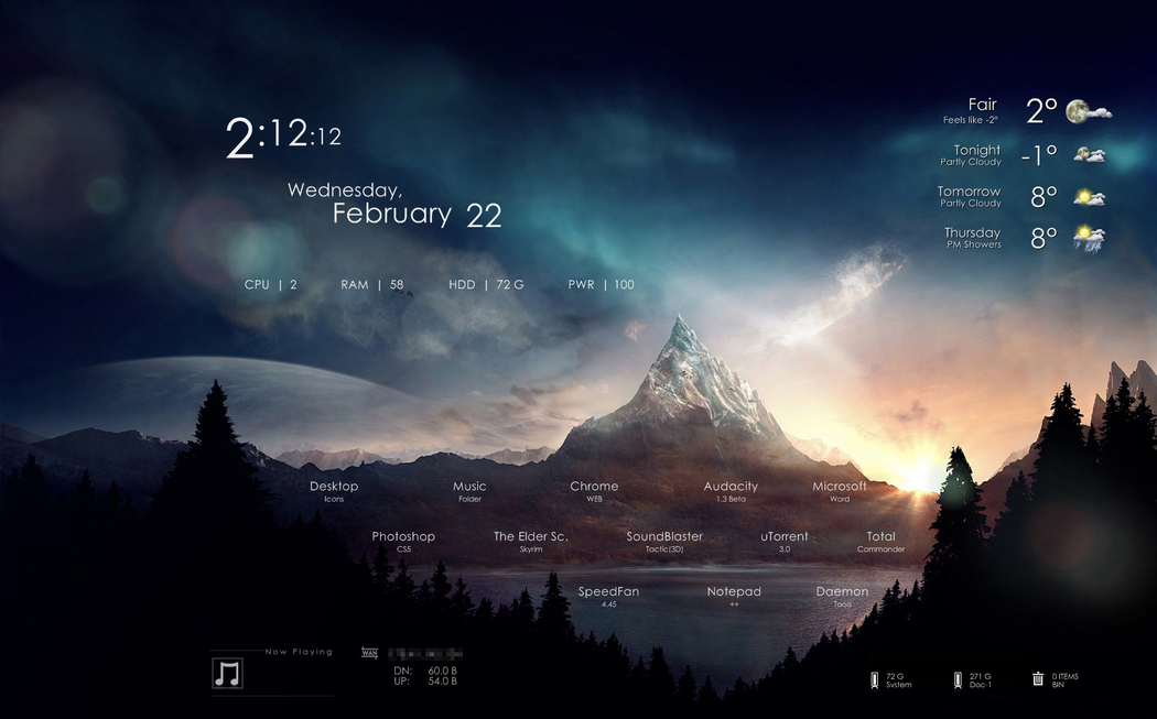 Rainmeter Backgrounds, Compatible - PC, Mobile, Gadgets| 1050x653 px