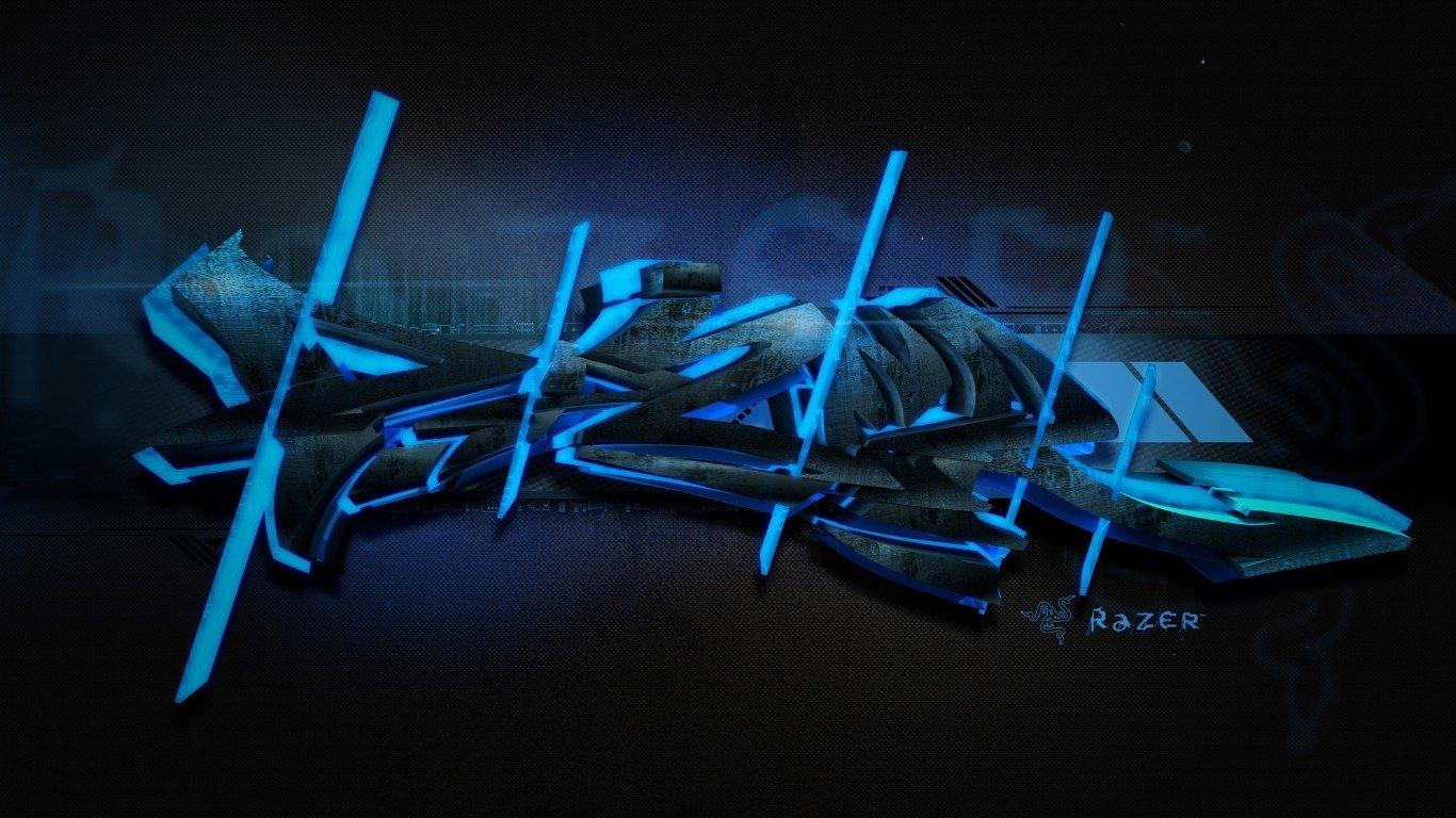 HQ Razer Blue Graffiti Wallpapers   File 180.23Kb