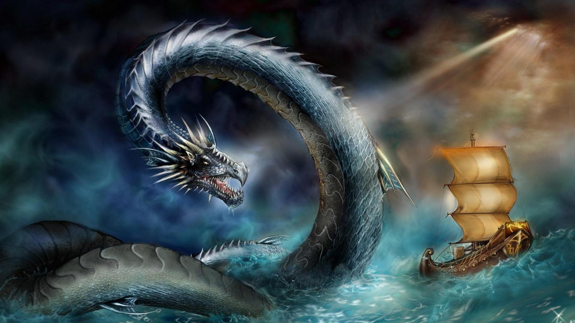 HD Quality Wallpaper | Collection: Fantasy, 1920x1080 Sea Monster