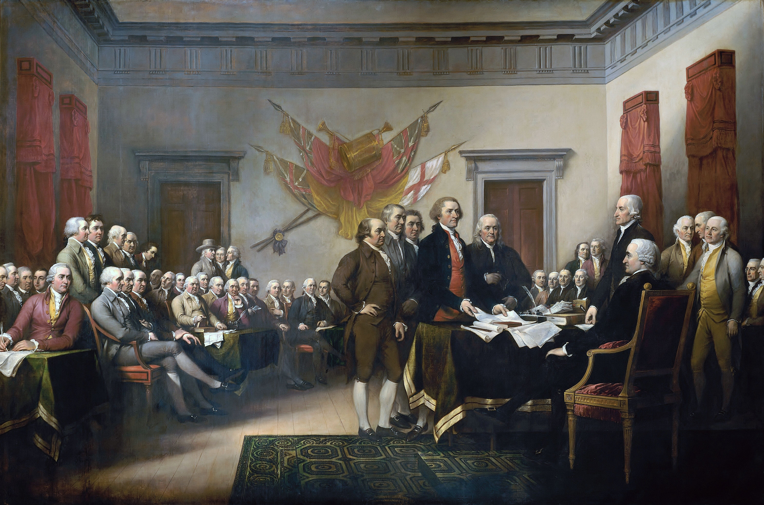 HD Quality Wallpaper | Collection: Artistic, 2976x1969 Trumbull's Declaration Of Independence